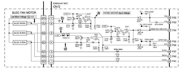 Контрольные точки на схеме для проверки вентилятора