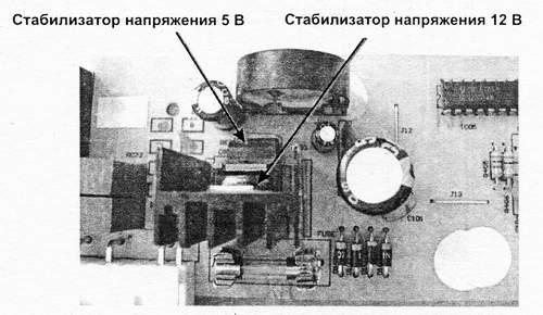 Расположение микросхем стабилизаторов напряжения на плате электронного модуля
