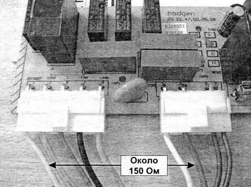 Контрольные точки на электронном модуле для проверки ТЭНов
