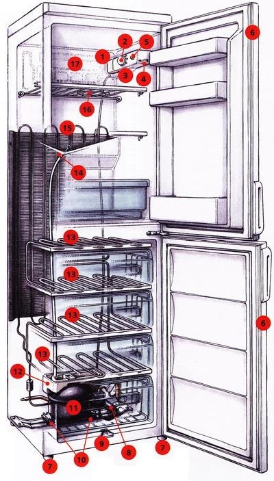 2. Ручка регулировки температуры.  Рис. 1 Устройство холодильника.  9. Слив для талой воды.  11. Компрессор.
