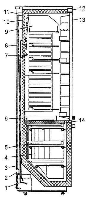 Конструкция холодильника предусматривает элементы комфортности: для автоматического оттаивания испарителя холодильной...