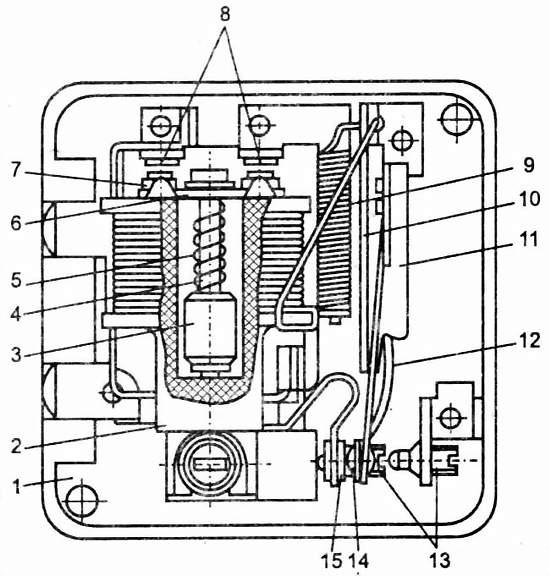 Пусковое реле электромагнитного типа состоит из катушки...
