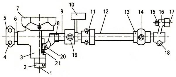 Механизм корпуса хода челнока, вала и кривошипа