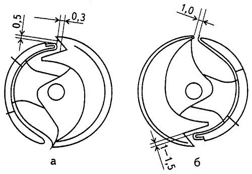 Зазоры между левоходным челноком и толкателем