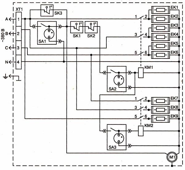 Схема калорифера КЭВ20.