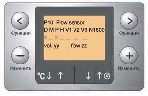 Индикация при тестировании датчика потока