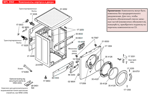 WFL 2060 ---- Компоненты корпуса и двери