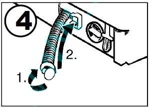 закройте крышку и поместите сливной шланг в держатель