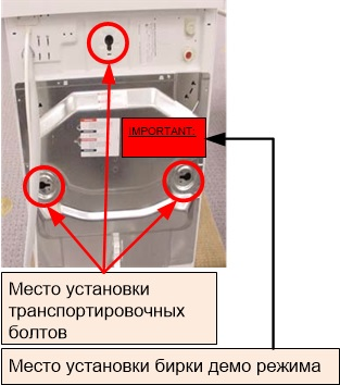 прикрепите этикетку к задней части стиральной машины