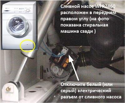Доберитесь до белого разъема насоса с задней части стиральной машины