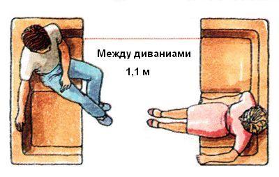 Установка двух диванов