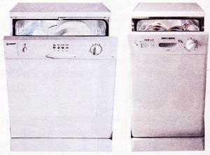 Стандартная и узкая посудомоечные машины