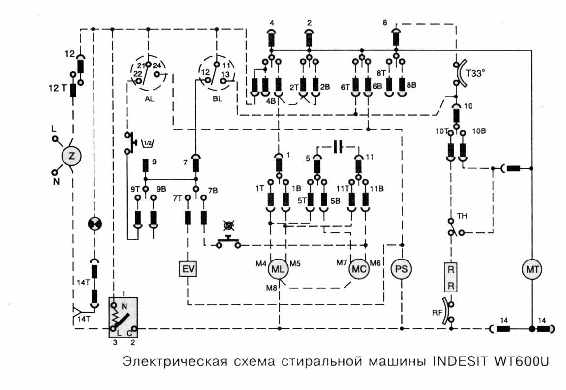 Эл схема стиральной машины индезит